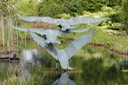 bronze sculpture swans flying brian alabaster