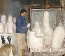 preparing the hot clean moulds for pouring
